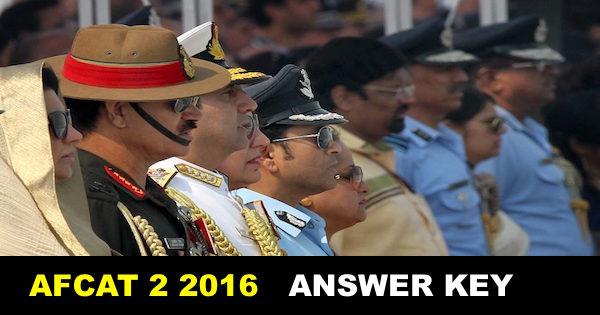 AFCAT 2 2016 ANSWER KEY